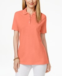 Karen Scott Short Sleeve Polo Top Only At Macy's Coral Lining