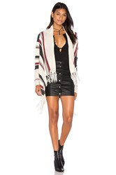Bishop Young Stripe Fringe Cardigan Ivory