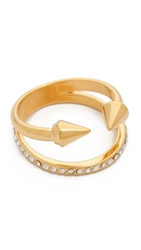 Vita Fede Titan Plain Crystal Band Ring Gold Clear