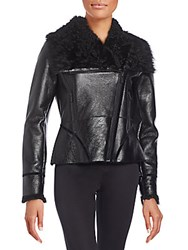 Zac Posen Ophelia Leather And Shearling Moto Jacket Patent Onyx