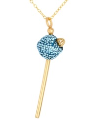 Sis By Simone I Smith 18K Gold Over Sterling Silver Necklace Light Blue Crystal Mini Lollipop Pendant