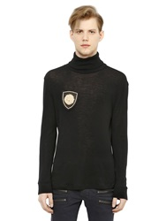 Balmain Wool Turtleneck Sweater With Crest Patch Black
