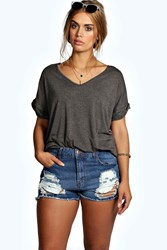 Boohoo Ripped Denim Shorts Indigo