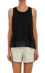 Skin Women's Voile Trimmed Cotton Jersey Top Black