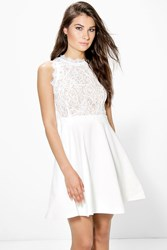 Boohoo Ray Lace Detail Top Skater Dress Ivory