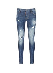 Dsquared 'Sexy Twist' Paint Spot Distressed Jeans Blue
