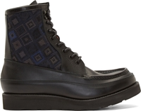 White Mountaineering Black Diamond Jacquard Boots