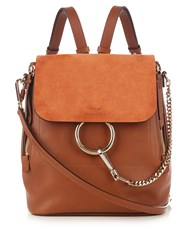 Chloe Faye Medium Suede And Leather Backpack Tan