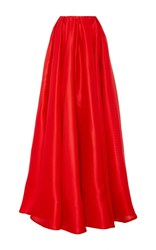 Reem Acra Waffled Gazar Ball Skirt Red