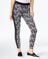 Guess Lace Contrast Leggings Jet Black Multi