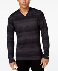 Alfani Men's Big And Tall Striped Long Sleeve T Shirt Regular Fit Deep Black Combo