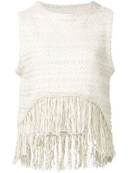 A Piece Apart 'Pablita' Fringe Tank Top Nude And Neutrals