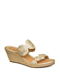 Jack Rogers Shelby Espadrilles Wedge Leather Sandals Gold