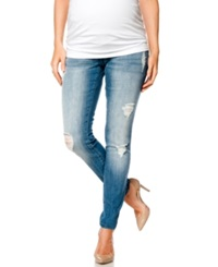 Motherhood Maternity Indigo Blue Premium Deconstructed Maternity Skinny Jeans Indigo Denim Wash