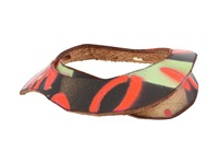 Leather Couture By Jessica Galindo Stamped Bangles Graffiti Orange Bracelet