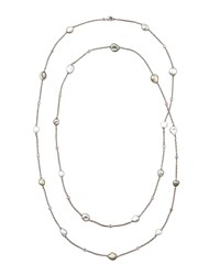 Gray Keshi Pearl And Sapphire Station Necklace 42'L Eli Jewels White