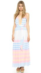 Mara Hoffman Field Stripe Crinkle Maxi Dress White Multi