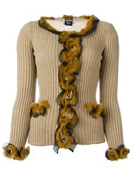 Jean Paul Gaultier Vintage Rabbit Fur Trimmed Cardigan Nude And Neutrals