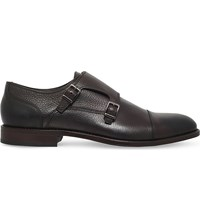 Hugo Boss Bb Stockholm Leather Monk Shoes Brown