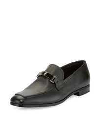 Prada Saffiano Leather Bit Loafer Black