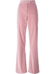 Msgm Flared Velvet Trousers Pink And Purple