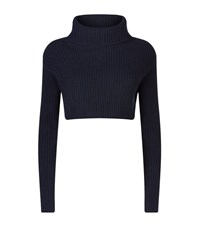 Valentino Cropped Turtleneck Jumper Female Navy