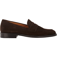 Barneys New York Suede Penny Loafers Brown