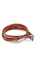 Miansai Anchor Leather Wrap Bracelet Rhodium Tan