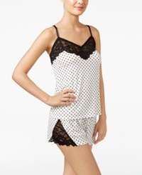 Flora Nikrooz By Anna Printed Knit Cami And Shorts Pajama Set Ivory Black Dot