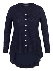 Chesca Button Back Jacket With Chiffon Trim Navy