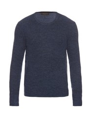 Rag And Bone Garrett Long Sleeved Merino Wool Sweater Navy