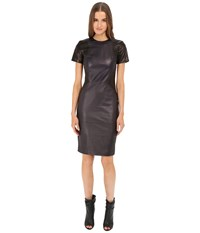 Prabal Gurung Leather Short Sleeve Dress Navy Black