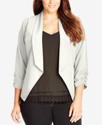 City Chic Plus Size Ruched Sleeve Open Front Blazer Ivory