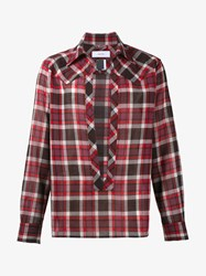 Facetasm Wool Blend Split Front Check Shirt Red Black Grey