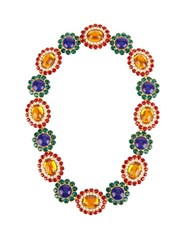 Miu Miu Flower Crystal Embellished Necklace Blue Multi