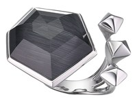 Stephen Webster Superstud Crystal Haze Ring Grey Cats Eye Clear Quartz Ring Black