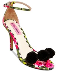 Betsey Johnson Lylly Two Piece Pom Pom Sandals Women's Shoes Green Floral