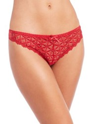 Aubade Bahia Couture Lace Thong Red