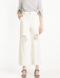 Pixie Market Off White Frayed Culotte Jeans