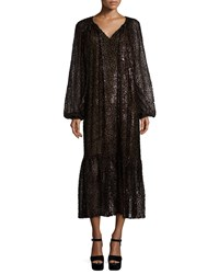 Michael Kors Long Sleeve Fil Coupe Peasant Dress Chocolate
