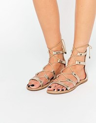 Call It Spring Charilyn Champagne Ghillie Lace Up Flat Sandals Champagne Gold