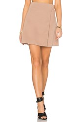 Twin Sister Button Wrap Mini Skirt Brown