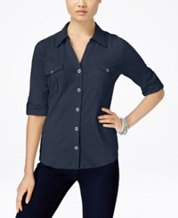 Styleandco. Style And Co. Roll Tab Jersey Button Down Shirt Only At Macy's Ink
