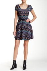 Iris Printed Fit And Flare Dress Blue