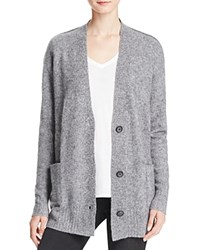 Aqua Cashmere Deep V Oversize Cashmere Cardigan Heather Grey White Twist