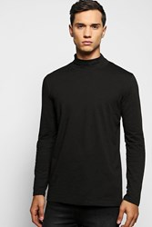 Boohoo Sleeve High Neck T Shirt Black