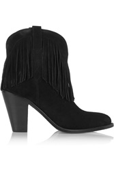 Saint Laurent New Western Fringed Suede Ankle Boots
