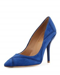 Roger Vivier Decollete Prismick Suede 100Mm Pump Royal Blue