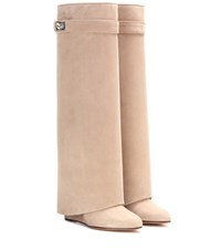 Givenchy Pant Shark Lock Suede Wedge Boots Beige