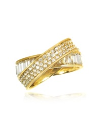 Michael Kors Pave Baguette Eternity Golden Stainless Steel Women's Ring